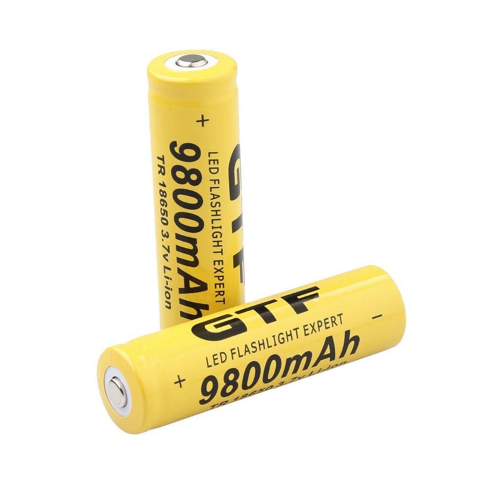 GTF 18650 Battery 9800mAh 3 7V Li-ion Rechargeable Batteries For Flashlight  + EU Li-ion Battery Charger accumulator battery