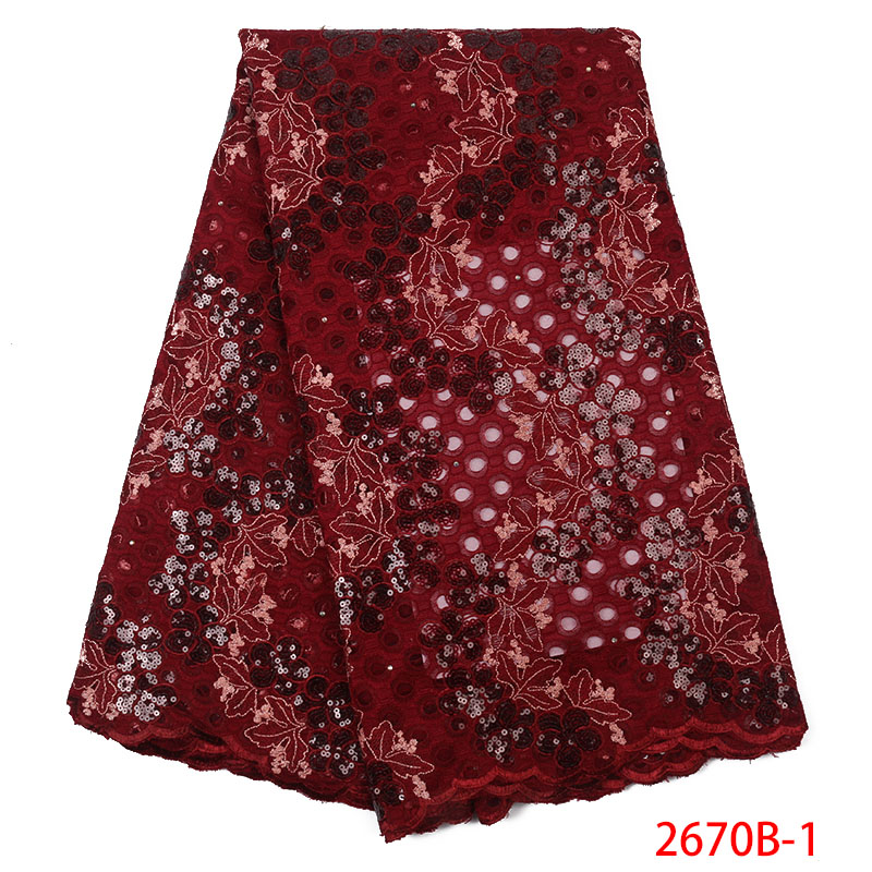 2019 High Quality African French Lace Fabric Latest Nigerian Laces Fabrics Embroidered Tulle Fabric Lace With Sequins KS2670B-1