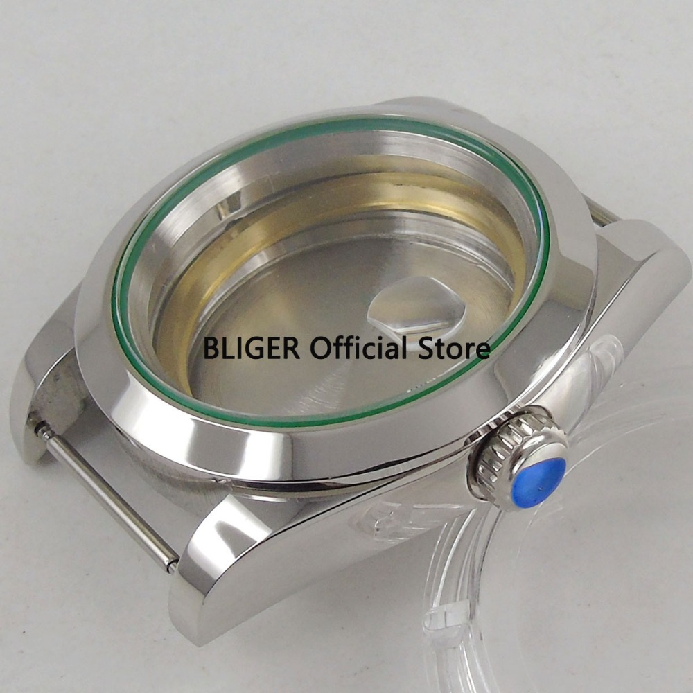 Polished 40mm Sapphire Stainless Steel Automatic Watch Case Fit For ETA 2824 2836 MIYOTA 8215 8205 Automatic Movement C53A цена