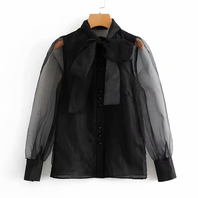 women vintage sexy transparent bow tied collar casual black organza Blouse shirt women business Feminina Blusas chic tops