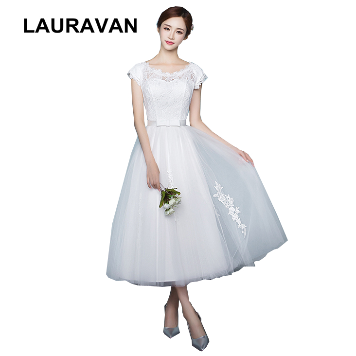 ivory short tea length lace   dress   tulle lace waist   bridesmaid     dresses   with a bow women for special occasions 2019 ball gown