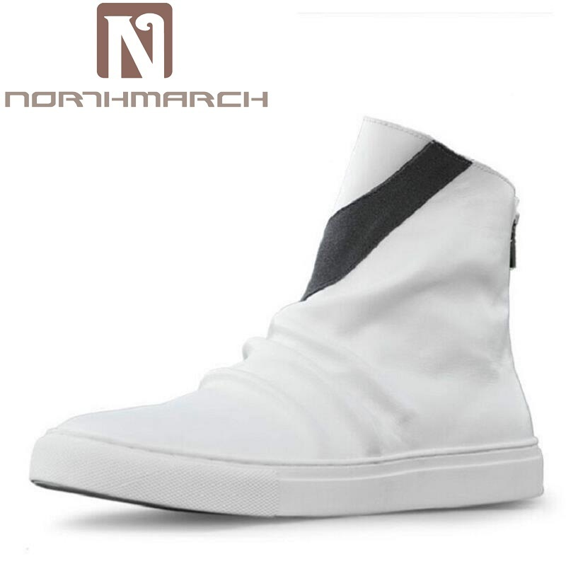 low priced 2e45f 57a4f Impermeables Para Zapatos Botas Martin Bota Los Hombres Británico Cuero De  Masculina Invierno blanco Negro Genuino ...