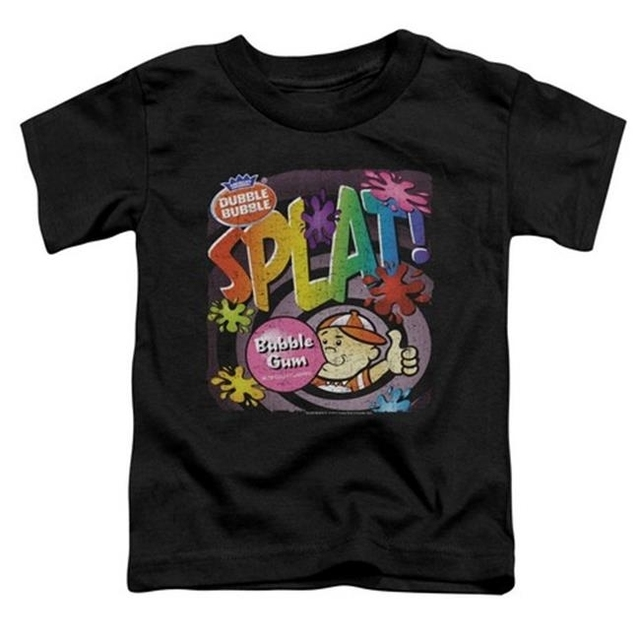 Trevco Dubble Bubble-Splat Gum – Short Sleeve Toddler Tee – Black Large 4T