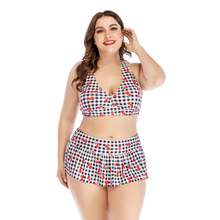 Plus Size Bikini Plaid Push Up Swimwear Women Large Sizes Swimsuit Halter New 2019 Tankini Set Print
