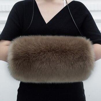 Bayan Blinger taklit kürk kış sıcak kol isıtıcı renkli tilki kürk el bilek el ısıtıcı büyük boy kürk mitten