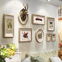 8 Pieces/Set Home Design Wedding Love Photo Frame Reindeer Head Wall Decoration Wooden Picture Frame Set Wall Photo Frame Set