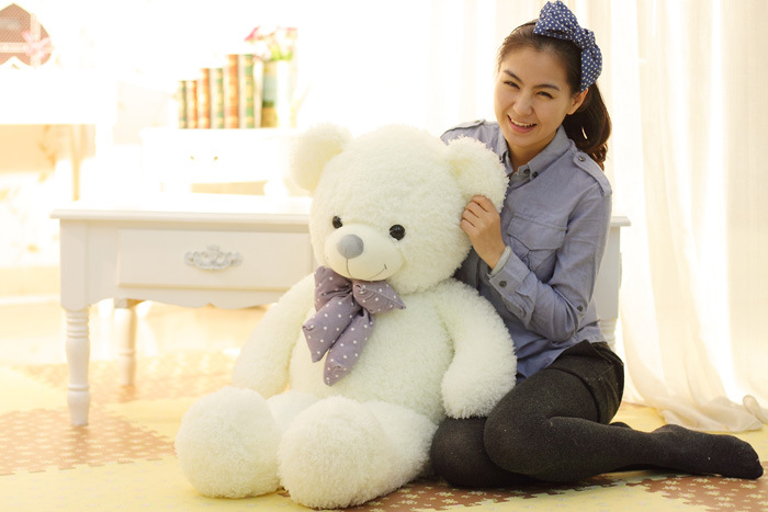 big white plush Mercerized bear toy new lovely bow bear gift doll about 120cm 0138 new creative plush bear toy cute lying bow teddy bear doll gift about 50cm