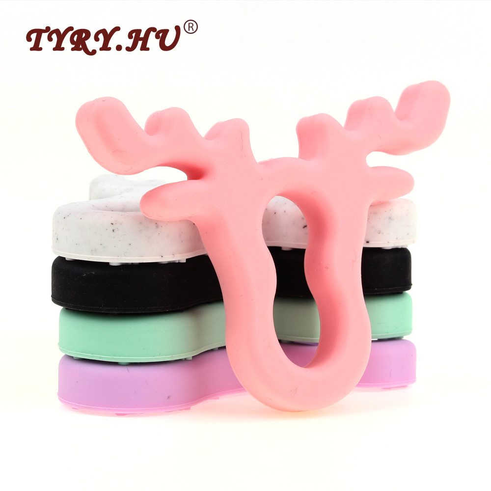 TYRY.HU 1Pcs/Lot Deer Horn Shaped Baby Teether Food Grade Silicone Teethers BPA Free Baby Teething Mordedor For Baby Tooth Care