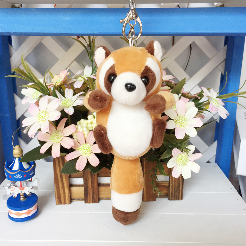 1pc 10cm Small Cute Raccoon Plush Bag Pendant Kawaii Soft Staffed Raccoon Kawaii Animal Key Chains Baby Child Doll Birthday Gift