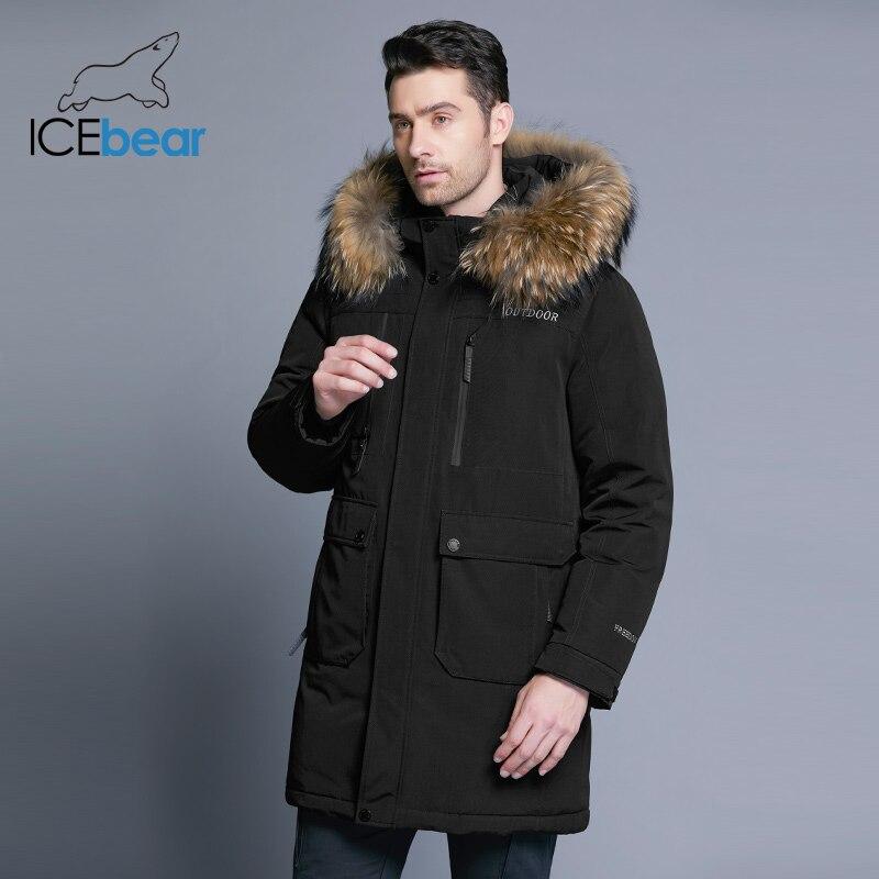 ICEbear 2018 Новая зимняя мужская пуховая куртка высокого качества Съемная шляпа мужская Куртки толстый теплый меховой воротник одежда MWY18963D