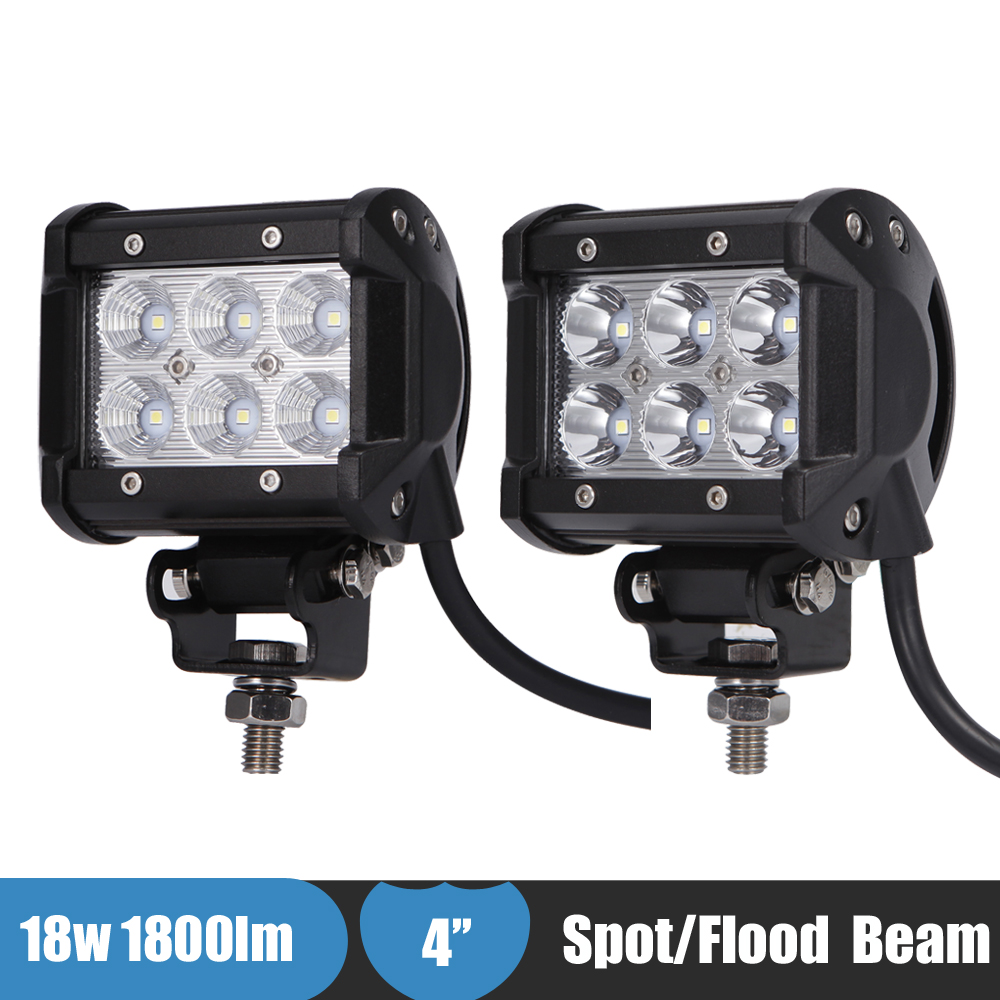 18w 4'' LED Work Light Spot Flood Driving Fog Lamp 4x4 Off Road Led Light SUV ATV Car Backup Light For Chevrolet silverado 2002 mz 22 120w 9600lm 30┬░ spot led work light bar off road suv atv fog lamp white yellow light 10 30v