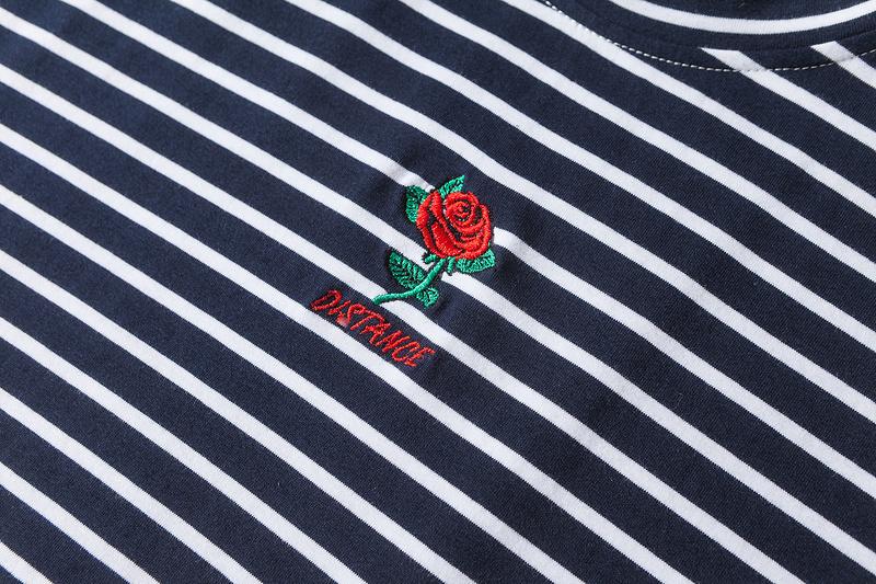 Dark Icon Rose Embroidery Striped Mens T-shirt Short Sleeve 19 Summer Hi-street Oversized Hip Hop Tshirt Cotton Tee Shirts 16