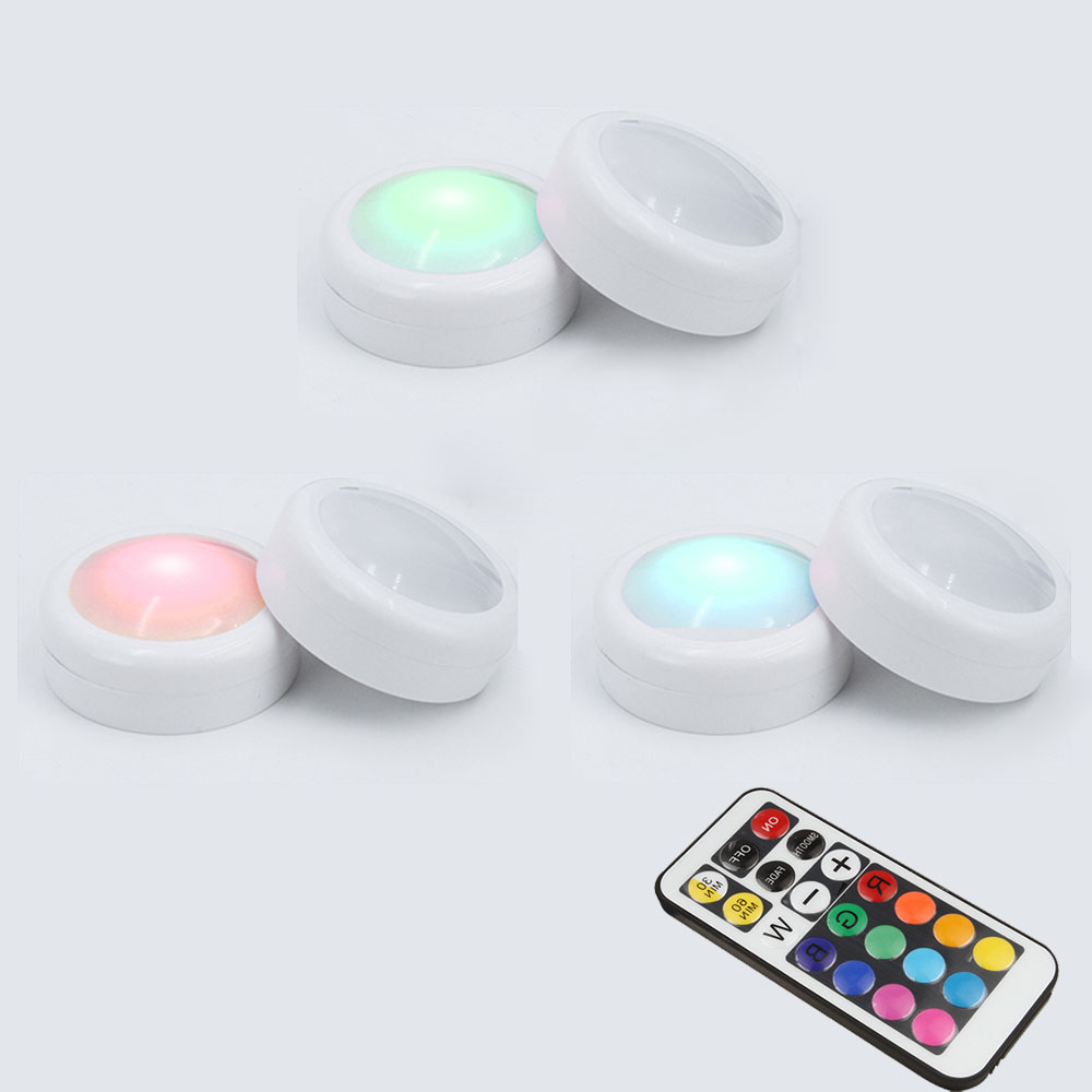 LED Puck Lights RGB 12 Colors 21 Key Dimmable Touch Sensor Led Under Cabinet Light For Close Wardrobe Stair Hallway Night Lamp