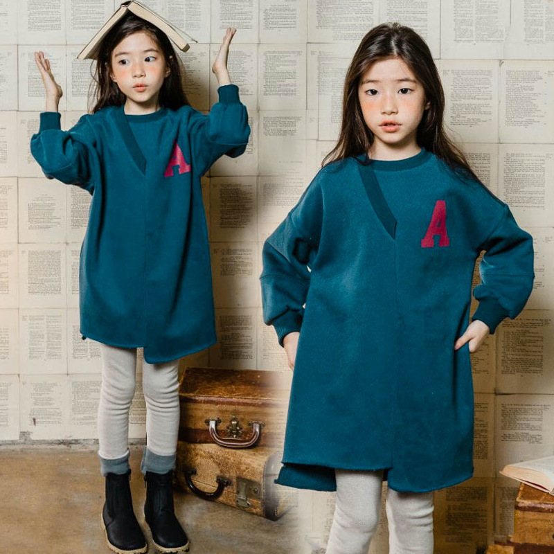 2018 New Autumn Girl Long Style Shirts Children Cotton Dress Kid Thicken Velvet Baby Casual Dress Kids Dresses for Girls,#3596 new 2017 girls jeans dress kids long style shirt children denim dress virtual edge toddler cotton dresses baby dress 2 14y