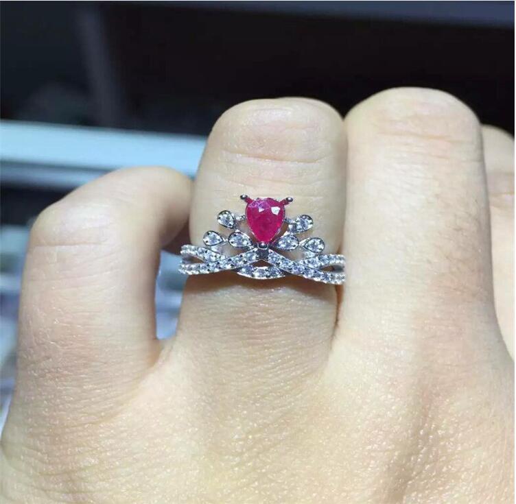 Натуральный рубин кольцо Бесплатная доставка натуральной Рубин 925 серебро перстни 4*6 мм Gem Размеры