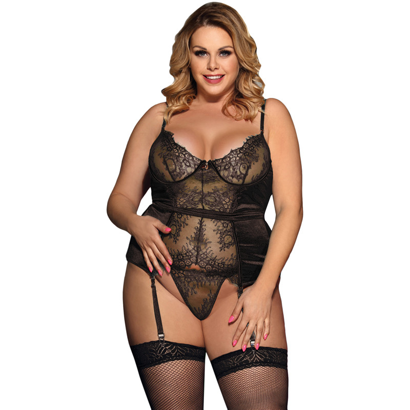 Exotic Apparel Transparent Lace Women Erotic Lingerie Lenceria Sexi Para Mujer Black 5XL Sexy Langerie With Gartered R80535 plus size women in leather