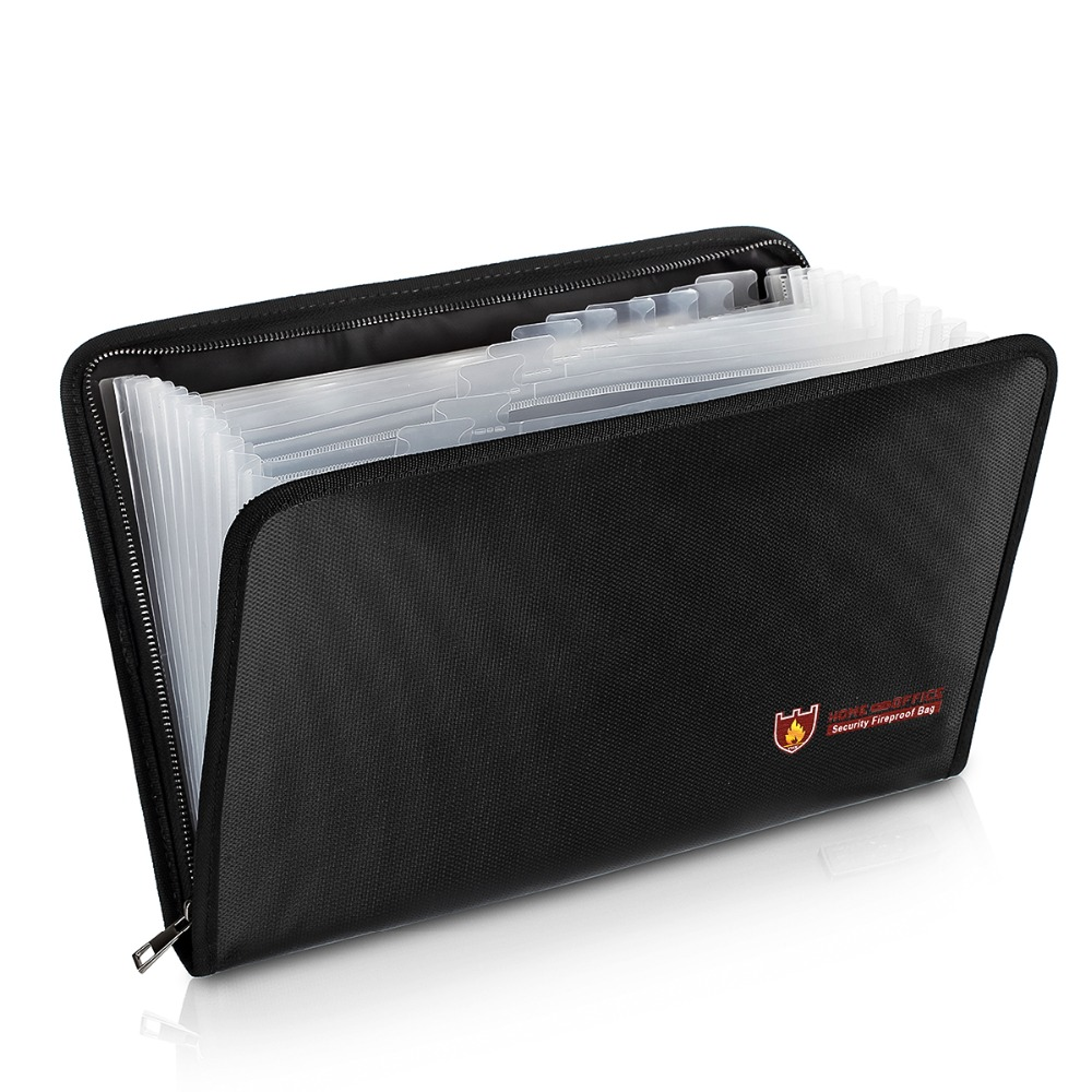 SOONHUA Portable Document Bag Fireproof Water Resistant Large Capacity Money File Folder With A4 Size 13 Pockets Zipper Closure