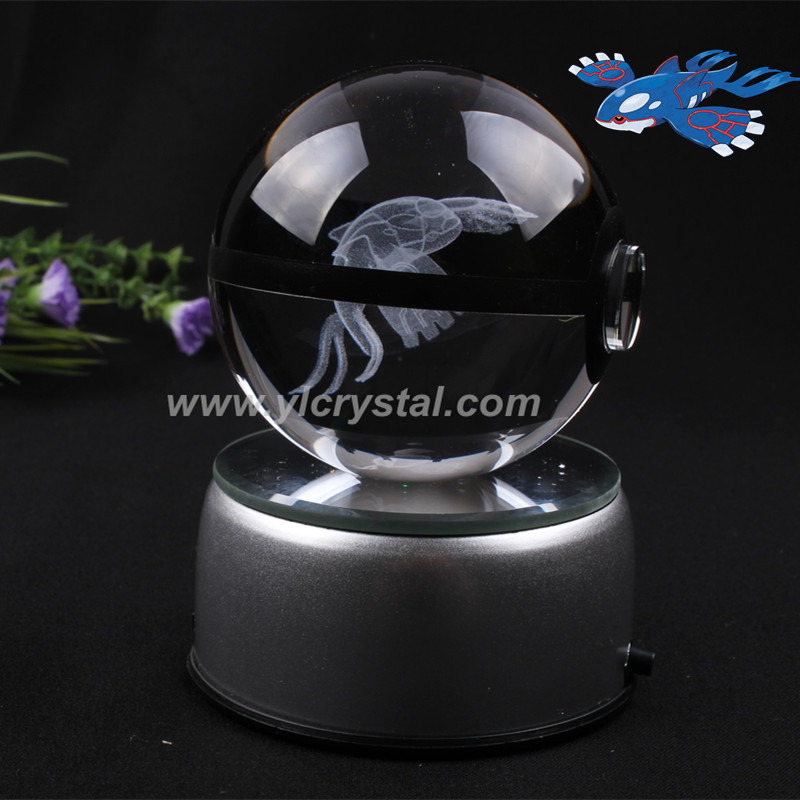 New Style Kyogre Pokemon Ball with Free Shipping Good Quality With Engraving Crystal Ball With Led base With Gift Box