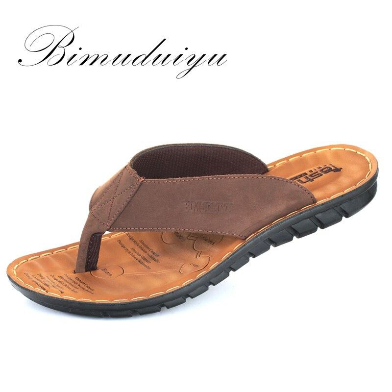 BIMUDUIYU Männer Flip Flops Casual Männer Schuhe Aus Echtem Leder - Herrenschuhe - Foto 1