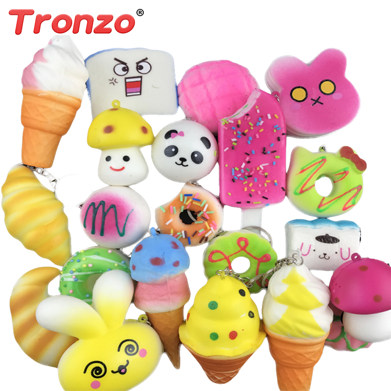 Tronzo 20Pcs/Lot Squishy Slow Rising Toy Squeezable Anti-Stress Simulation Food Animal Fruit Funny Toy Gift For Kid Dropshipping realistic pineapple pu foam fruit squishy toy