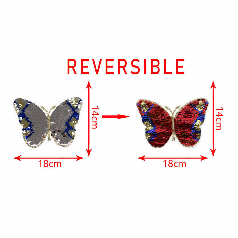 Butterfly Reversible Sequins Sew On Patches for boys and girl clothes DIY Patch Applique Bag Clothing Coat Sweater Crafts sequin