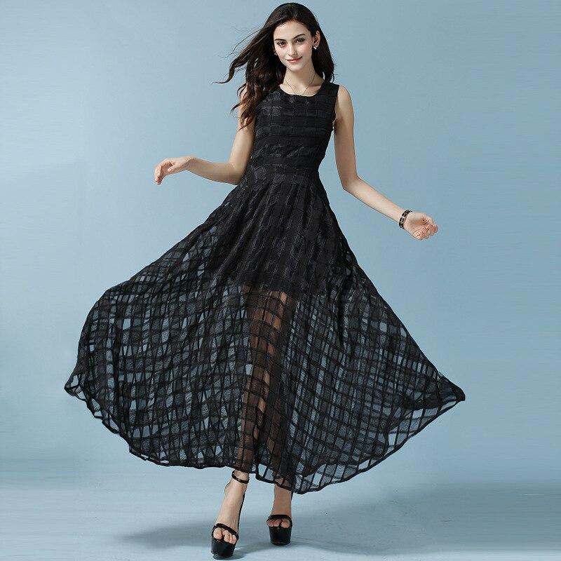 Bohemian Solid Tank A-line Ankle-length Sleeveless Top Fashion Special Offer Robe Vestidos De Fiesta Plus Size Women Dress