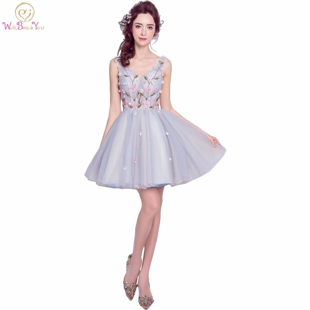 Walk beside you real picture light blue bridesmaid dresses with walk beside you real picture light blue bridesmaid dresses with embroidery floral beaded short party prom dresses in bridesmaid dresses from weddings ombrellifo Gallery