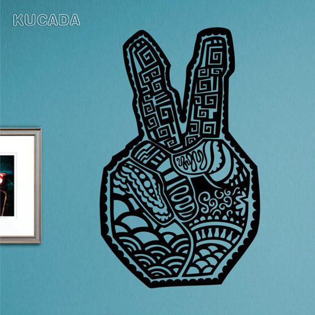 US $6.04 |Creative Peace Sign Hand Quote Wall Sticker Office Living room  bedroom Home Decoration Vinyl Poster Applique JG3996-in Wall Stickers from  ...