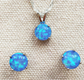 Lovely Round 8 mm Blue Fire Opal Jewelry Set Necklace + Earring