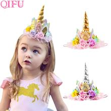 QIFU 1pcs Golden Crown Happy Birthday Party Decorations Kids Lace Flower Unicorn Hats Silver Hair Accessories