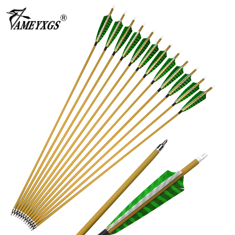 6/12/24Pcs 30inch Archery 500 Spine Pure Carbon Arrows Detachable Arrowheads 6.2mm ID With 5inch Feather Vane For Hunting Shoot