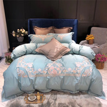 Light Green Gray Luxury Flowers Embroidery 100S Egyptian Cotton Palace Bedding Set Duvet Cover Bed sheet Linen Pillowcases