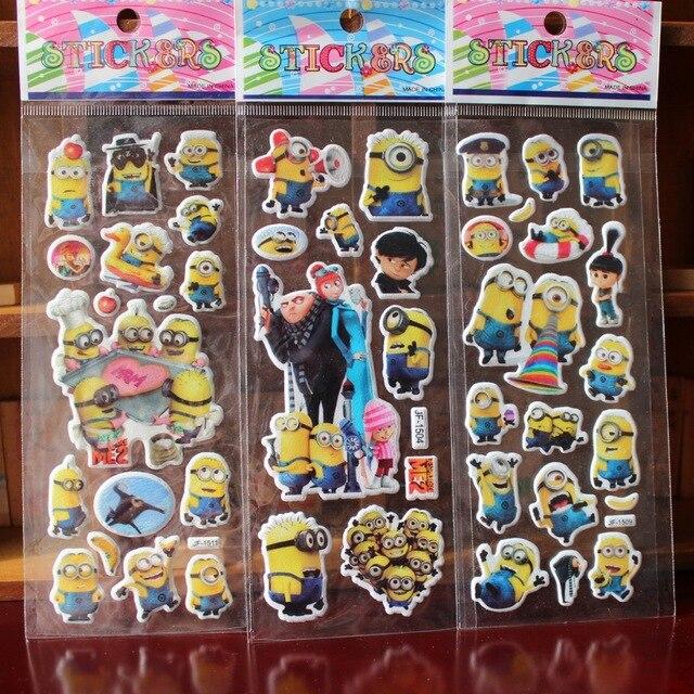 10 Sheets lot 3D Cartoon Minions wall stickers Kids Toys Bubble stickers Teacher font b