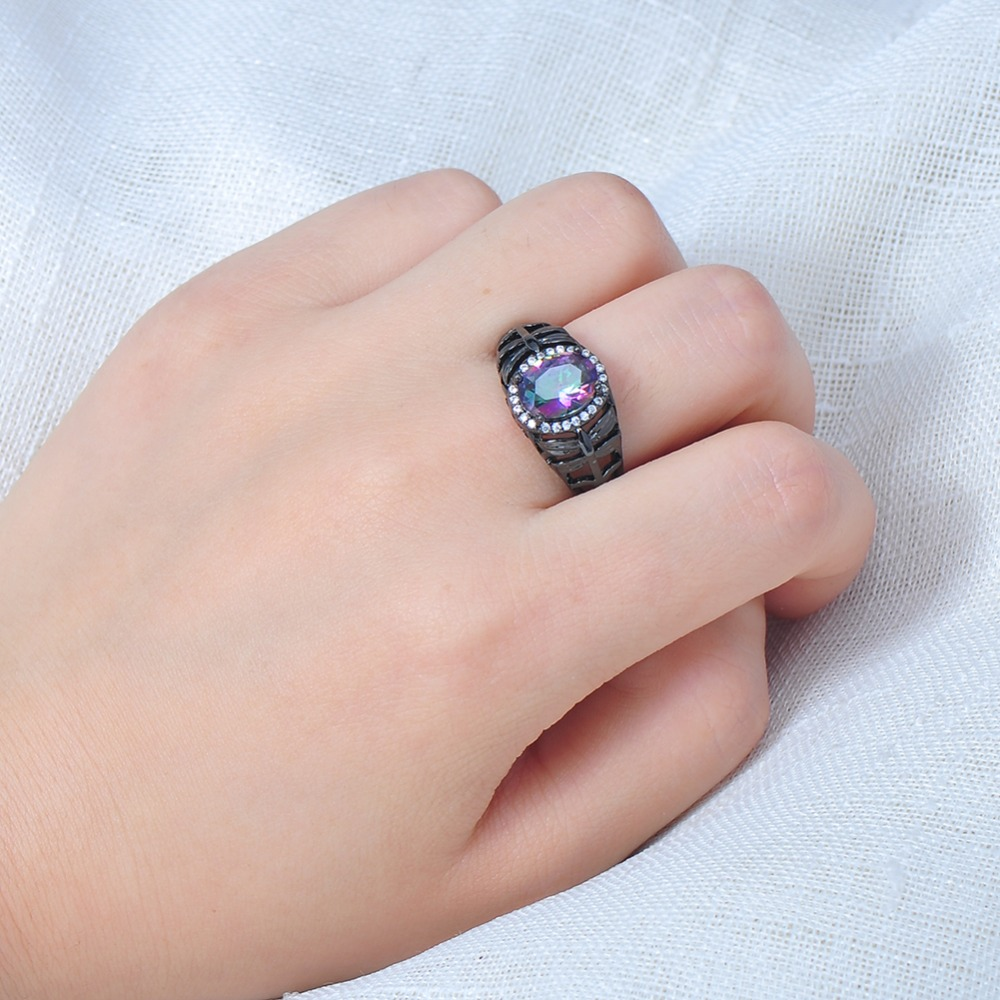 Unique Design Bright Zircon Stone Women Men Ring Black Gold Filled ...