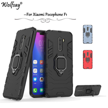 hot deal buy f1 case xiaomi poco f1 case armor magnetic metal finger ring holder case for xiaomi pocophone f1 cover xiaomi f1 pocophone shell