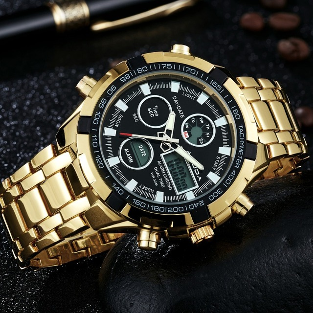Amuda Mens Sport Watch Led Gold Big Face Quartz Watch Men