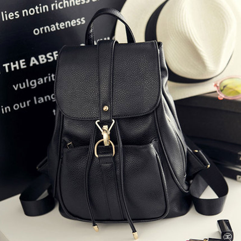2017 Korean Style Women Backpack Top Quality Leather Double Shoulder Bag School Bag for Teenage girl Female Casual Black Bagpack