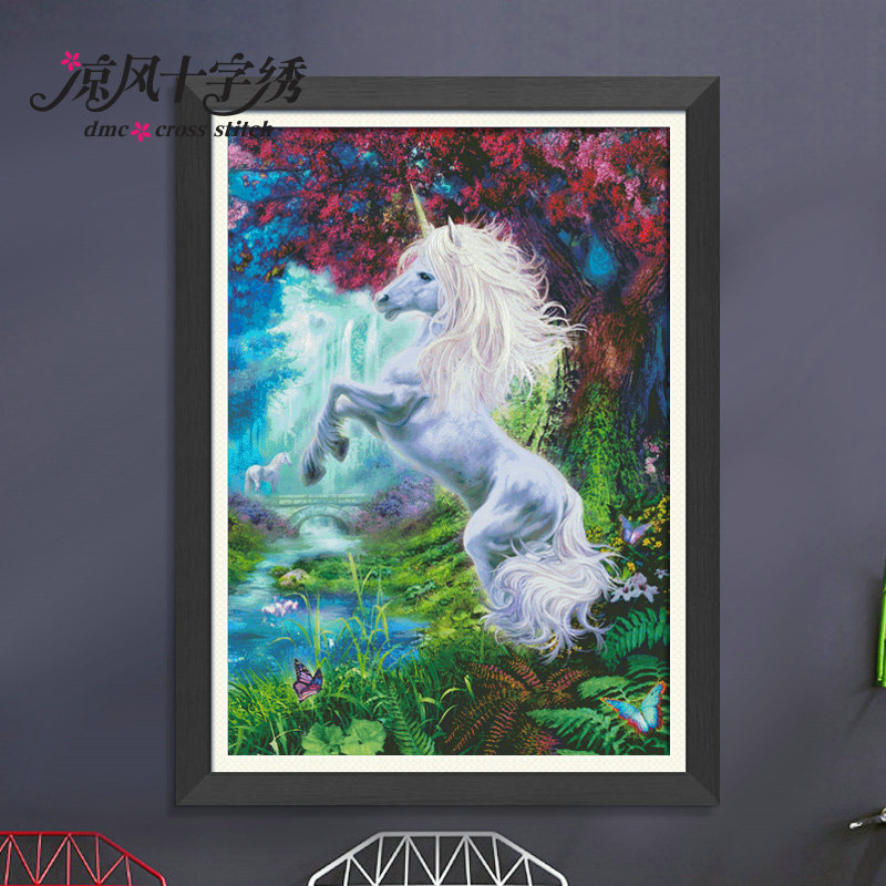 Crafts 14 Ct Dmc Diy Arts Handmade Decor Unicorn Splendour Embroidery Counted Cross Stitch Kits Needlework