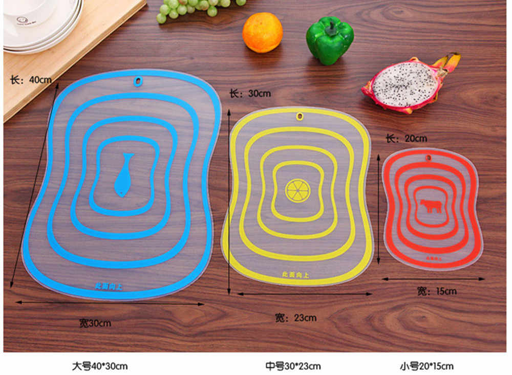 1pc Plastic Chopping Board Non-slip Frosted Kitchen Cutting Board Vegetable Meat Tools Kitchen Accessories Chopping Board S M L