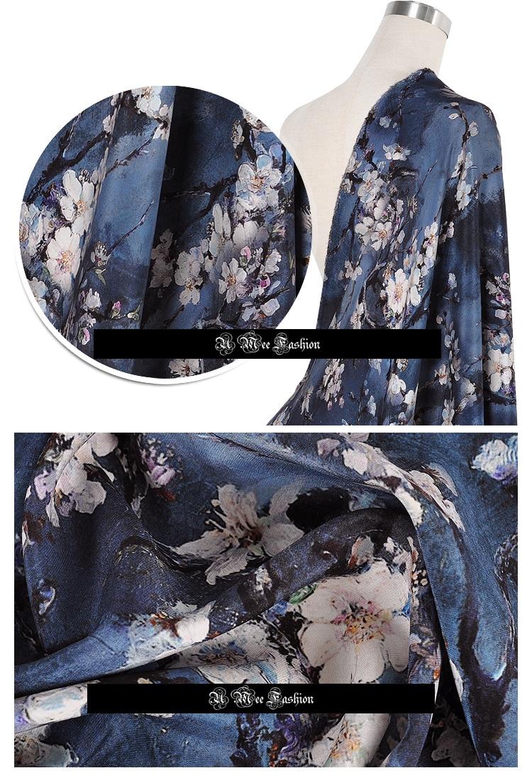 SCC008 Silk Crepe Crepe/ Wintersweet/Silk Fabric Mulberry Silk 90% Silk 10% Spandex Elastic/ Width1.18yd Thickness28mm - 3