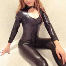 2017 New Sexy Zipper Womens Faux Leather Jumpsuit Erotic Slim PVC Catsuit Leotard Skeleton Bodysuit Costume Club Wear Outfits