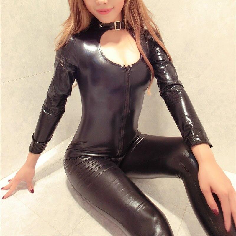 Femmes Wetlooks PVC Simili Cuir Fermeture Éclair Bodysuits Combinaison Sous