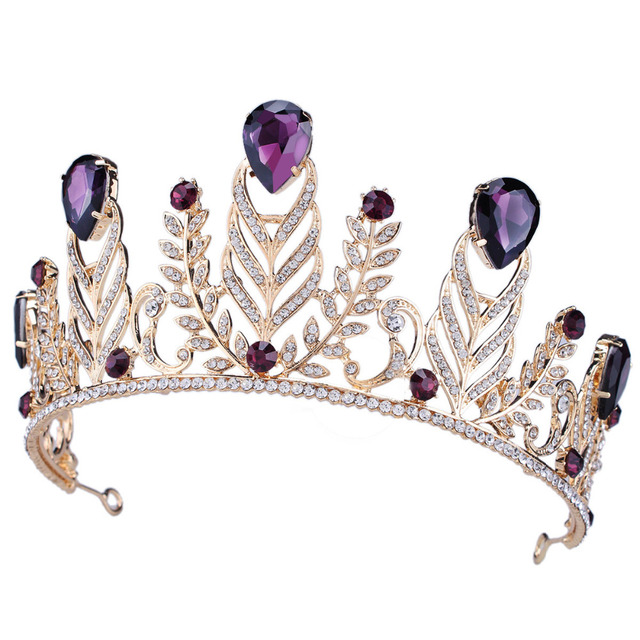 Dower Me Fashion Purple Crystal Wedding Tiara Crown Rhinestone Bridal Headpiece Hair Accessoires Women Prom Tiaras