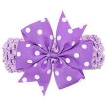 "4.3"" Hair Ribbon Bows dot Hairband Boutique Girls big Bow dots candy color headband Girls' Hair Accessories WW-HC075"
