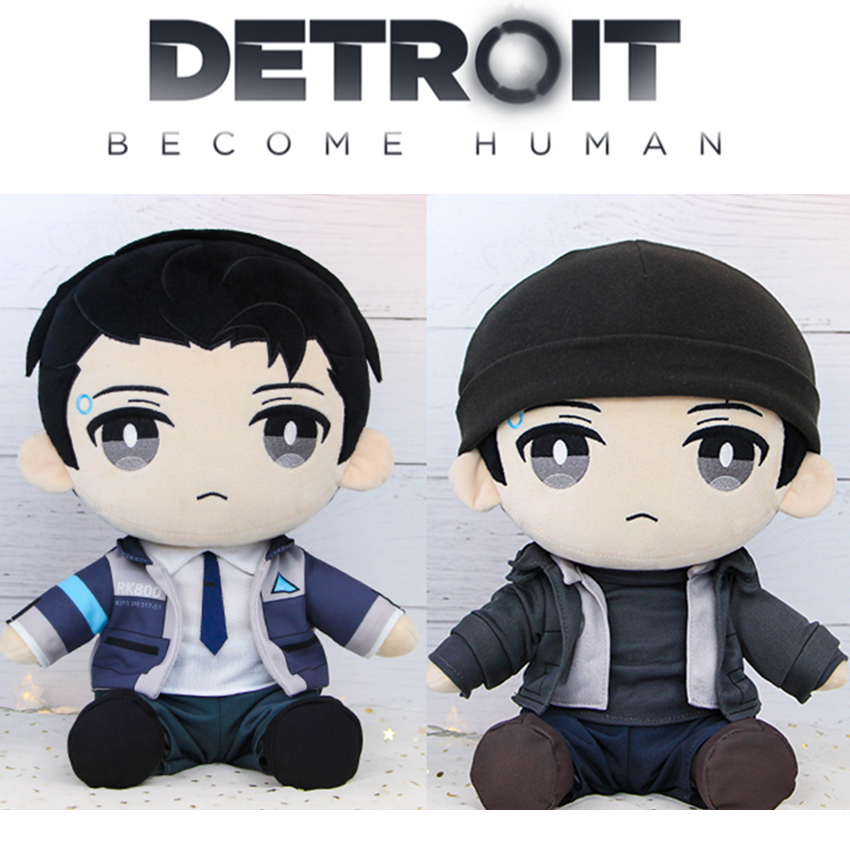 Detroit: Become Human DBH Connor RK800 Plush Stuffed Pillow Doll Cushion Plushie Toy Removable Clothe Hat Cute Gift Game Cosplay