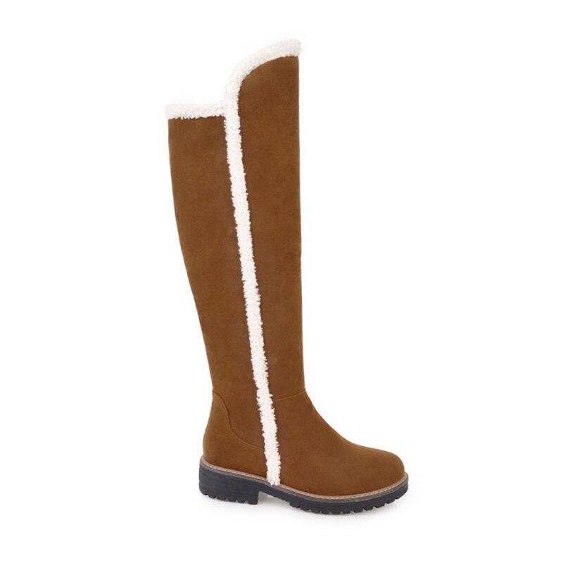 Talons La Casual brown Mode Neige Taille Chaussures Beige Haute Confortable Bottes Femmes Femme 43 Plate Chaud Peluche Genou Plus D'hiver Courte 34 forme Carrés noir K1FJlTc