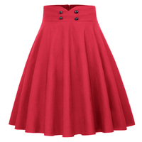Womens Solid Color Buttons High Waist Flared A Line Skirt Short Pleated Shirt