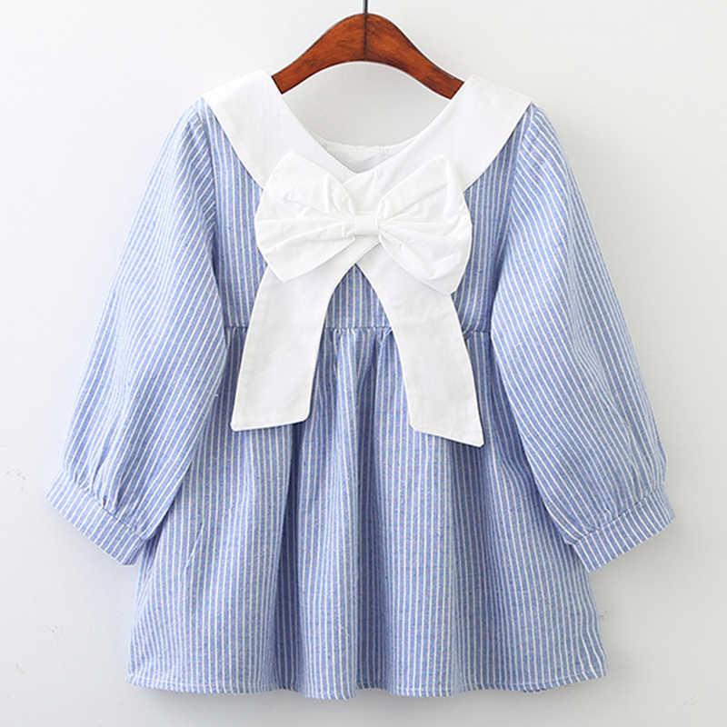 Осеннее платье для девочек коллекция 2019 года, новое весеннее стильное Брендовое детское платье клетчатая принтованная повседневная одежда, одежда 3-7Y детское платье в полоску
