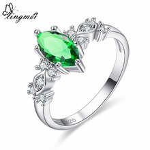 lingmei Engagement Marquise Cut Green White Pink Red Blue Cubic Zircon Silver Ring Size 6 7 8 9 Women Christmas Best Gifts