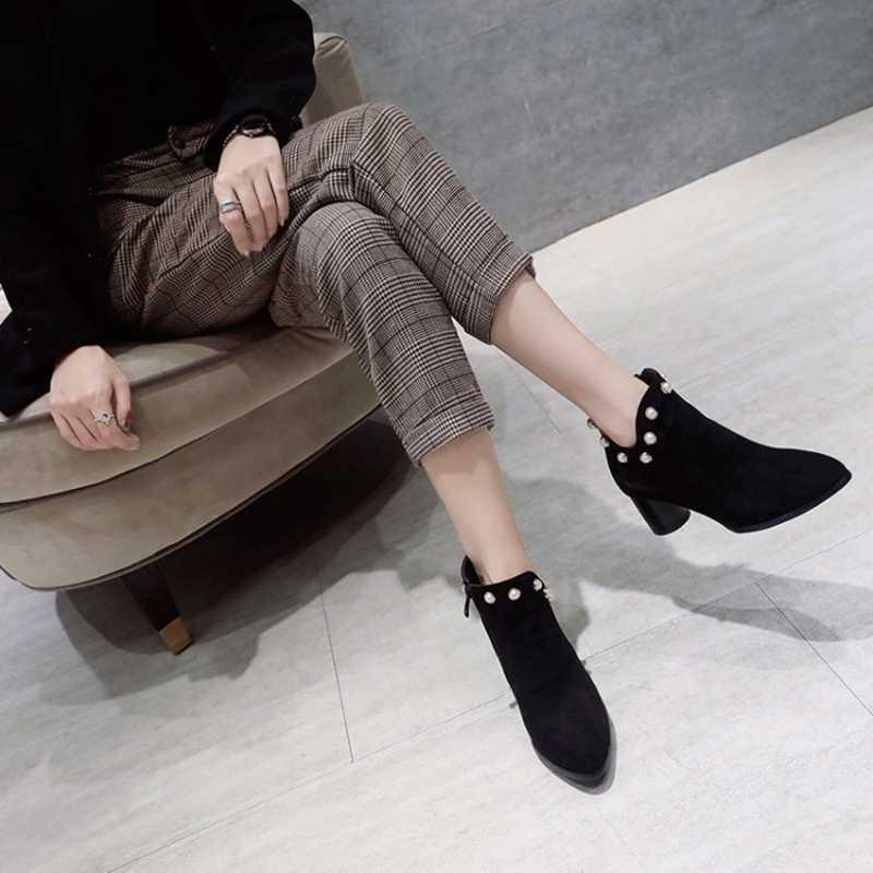 REAVE KEDI Yeni Sonbahar ayakkabı kadın yarım çizmeler kadın çizmeler Sivri Burun Akın Fermuar Botas Kadın mujer Inci Kalın topuk a1356